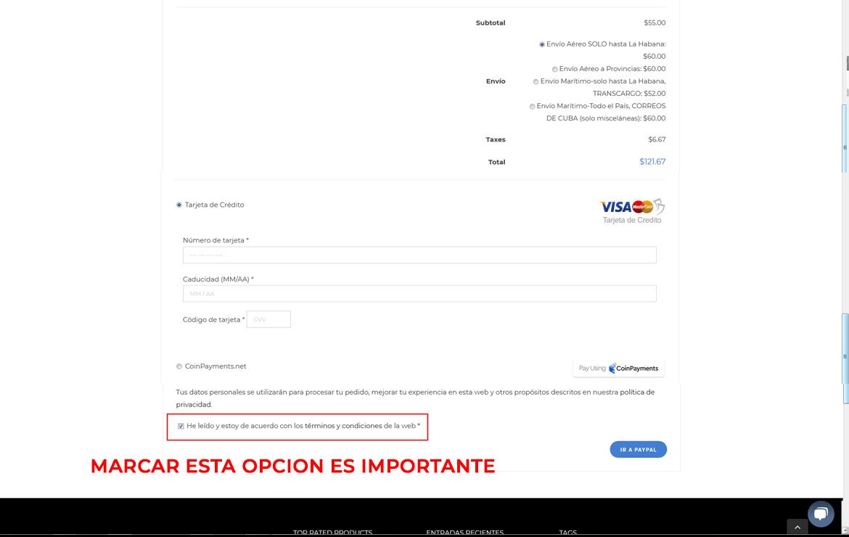 tarjetas VISA, MASTERRCARD (Crédito o Débito) ó con BITCOIN